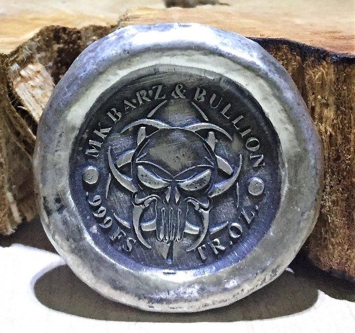 Hand-Poured Silver 手澆銀塊-Biohazard Skull 生物危害頭骨 (1 toz)