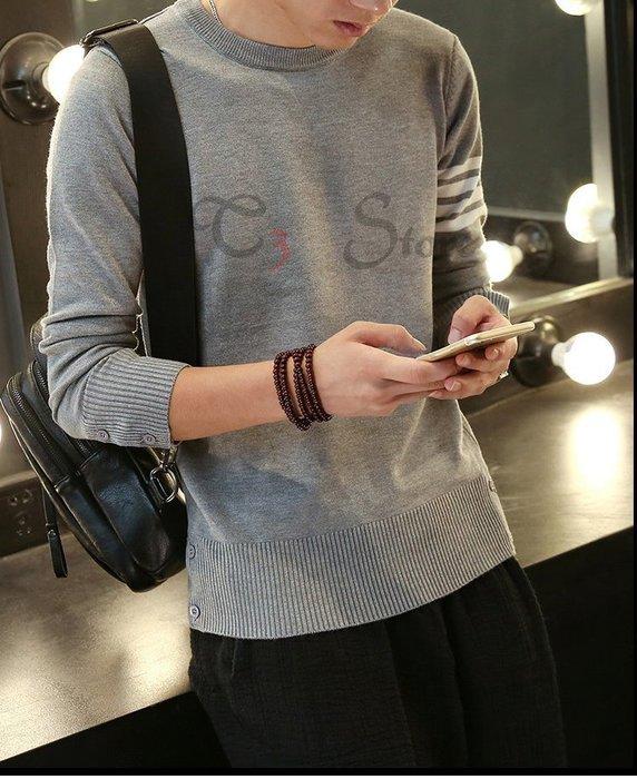 【T3】韓系毛衣 修身毛衣 男長袖毛衣 男T 保暖毛衣 四線毛衣 百搭毛衣 修身針織衫 【MS02】