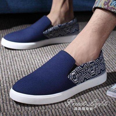 ☜男神閣☞豆豆鞋秋季潮流休閒鞋男套腳低筒帆布鞋韓版鞋透氣板鞋學生大碼男鞋