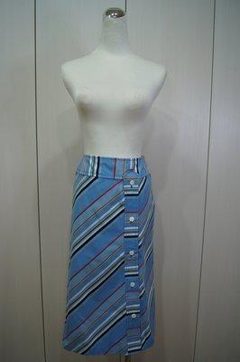 日本品牌  KEITA MARUYAMA 水藍色彩條紋釦子裙     特價 2500