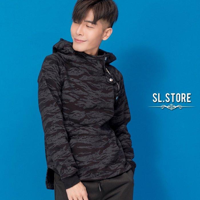 SL Store【YH889】領口鐵扣斜拉鍊虎斑紋開叉刷毛連帽T.黑/M/L/XL