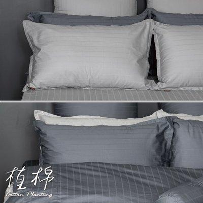 《50支紗》歐式壓框枕套二入【共2色】植棉-淺灰、深灰 100%精梳棉-麗塔寢飾-