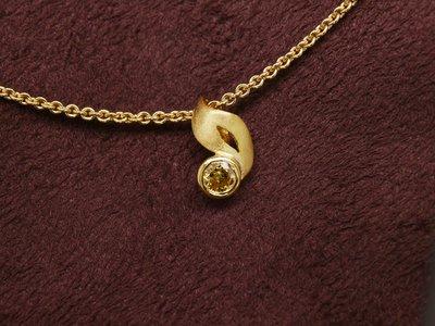 天然彩鑽 跳躍音符 圓形黃鑽墜 14K金 棕黃彩鑽 另有GIA彩鑽 閃亮珠寶