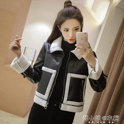 ZIHOPE 秋裝新款女裝秋冬百搭寬鬆夾克上衣韓版短款皮衣羊羔毛外套女ZI812