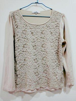 免運 專櫃品牌JS滿版蕾絲奶茶色長袖顯瘦針織衫  只有一件