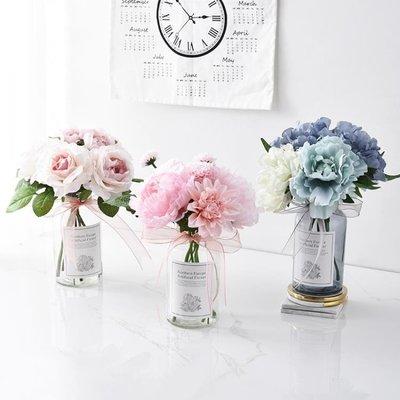 仿真花擺件小清新假花盆栽北歐家居客廳花束裝飾塑料花餐桌花擺設