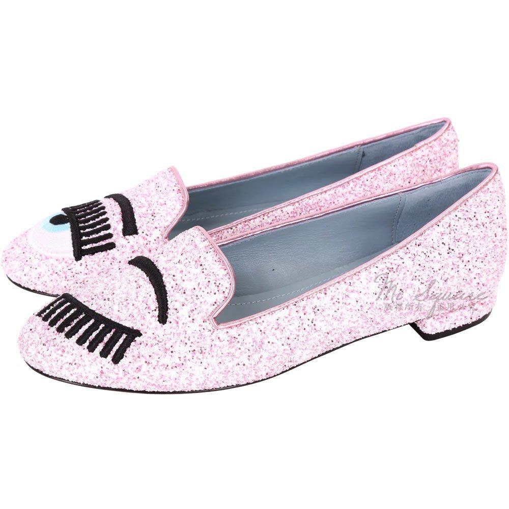 米蘭廣場 Chiara Ferragni Flirting 刺繡眨眼亮片樂福鞋(粉x白) 1730400-05