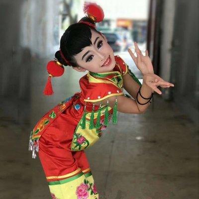 兒童喜慶舞蹈演出服中國風秧歌打鼓服鼓舞表演服(紅色三件套+頭花) *呀呀*衣比妨 學步鞋/禮服/游泳裝