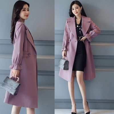 新款韓版女裝chic修身中長款風衣百搭氣質過膝春秋季lulu外套