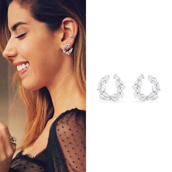 💎1850、明星典雅優雅晶鑽花圈晚宴輕奢耳環💎  精品 耳環 輕奢飾品 正韓飾品 925純銀針