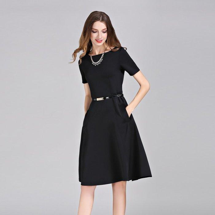 一字領洋裝正韓版赫本風小黑裙2018新款夏季中長款工作服黑色正式場合女夏連衣裙子8-28