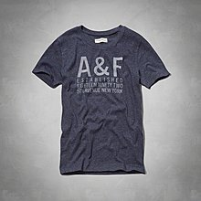 Maple麋鹿小舖 Abercrombie&Fitch * AF 藍色印花字母短T  *( 現貨S號 )