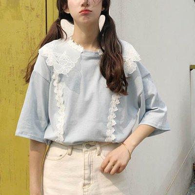 韓系超美蕾絲雕花娃娃領粉藍色寬鬆T恤~現貨