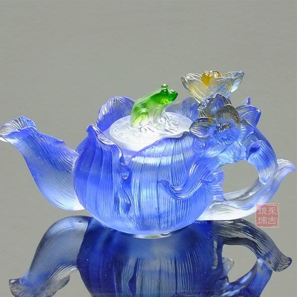 5Cgo【鴿樓】會員有優惠 43196609775 琉璃工藝品現代家居酒櫃裝飾品擺件 創意禮品琉璃花茶壺 附禮盒