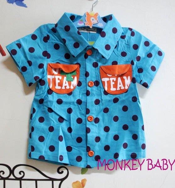 全館滿699免運【MONKEY BABY 】亮麗活潑點點藍色女童短袖襯衫/上衣3號