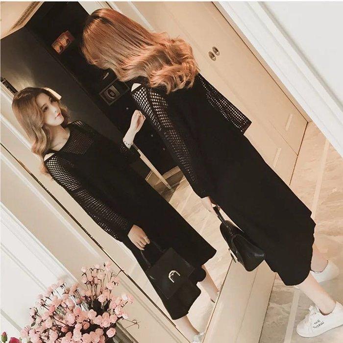 氣質兩件式套裝縷空針織上衣罩衫連身裙洋裝吊帶裙
