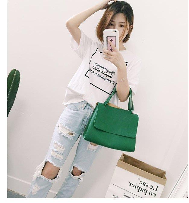 2016韓國東大門unita新款包蓋式翻蓋簡約單肩包女士潮百搭手提包(小號)