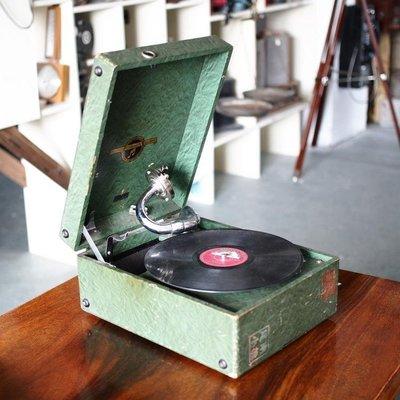 百寶軒 懷舊老式古董哥倫比亞Columbia手搖留聲機提箱黑膠唱機音質良 ZG2282