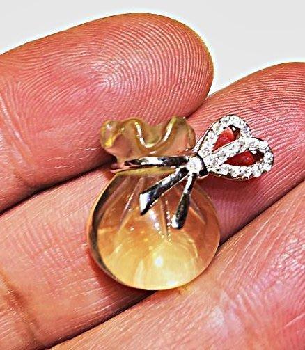 ((上品堂))頂級天然黃水晶純銀福袋墜子, 只給第一標