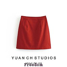 Freedom.核桃家 歐美風新款女裙紅色高腰A字半身裙短裙子洋裝
