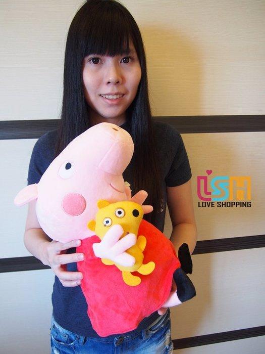 【愛購樂】 Peppa pig 佩佩豬 抱小狗 45CM 正版授權 玩偶 娃娃 抱枕