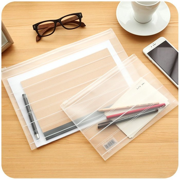 千夢貨鋪-透明拉鏈文件袋 A4塑料初中生女大容量用網格收納資料檔案袋#筆盒#文具盒#文具#筆袋#日記本