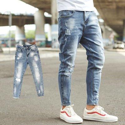 柒零年代【NB0522J】渲染刷色小抓破彈性合身版九分褲牛仔褲(SS-G9111)