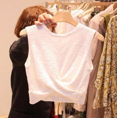 背心 新款韓版簡潔休閑無袖圓領背心 百搭T恤 閨蜜裝 上衣潮—莎芭