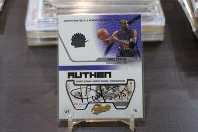 Vince Carter 2002-03 Fleer Authentix RIPPED Auto 球票簽名卡~傳奇球星