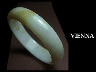 《A貨翡翠》【VIENNA】《手圍19/15mm版寬》緬甸玉/冰種果微醺淡紫撒蜜花/玉鐲/手鐲N-046