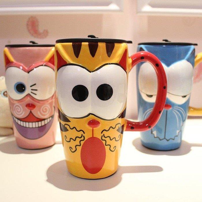 YEAHSHOP 仟度彩繪陶瓷杯 創意時尚馬克杯子帶蓋帶勺Y185