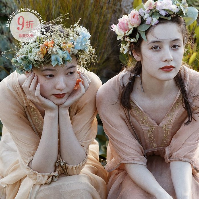 *菇涼家*茉莉和扶蘇原创《水仙》兩色雪纺很仙連衣裙夏