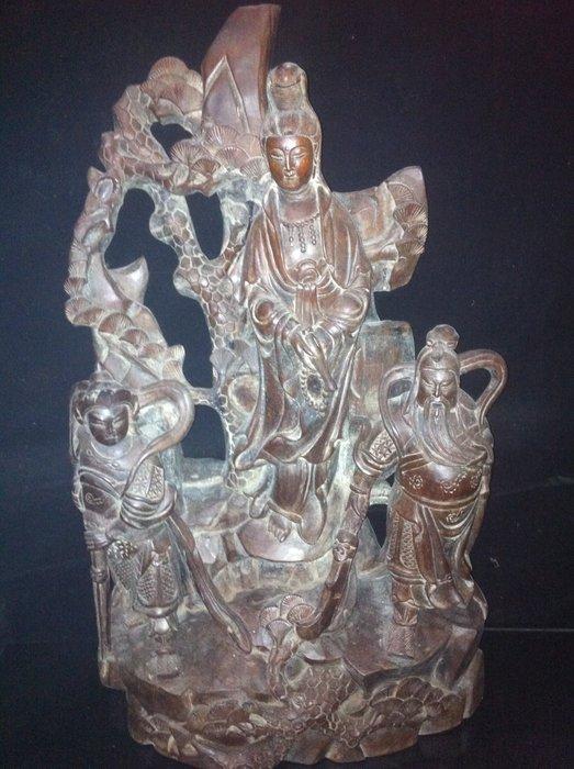 【貝勒爺古文物】K143(老件)紅木雕(觀音.關公.韋駝)