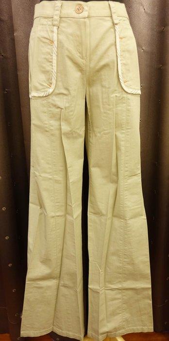 大降價!全新義大利設計師品牌 ACCIAIO 米色帥氣休閒造型寬管褲直筒褲,L 號,標籤還在!低價起標無底價!免運費!