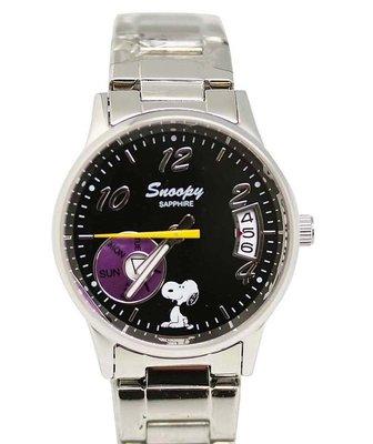 【卡漫迷】 Snoopy 對錶 日期功能 黑 M ㊣版 男錶 手錶 日曆 不銹鋼 強化水晶玻璃 史努比 史奴比 七折出清