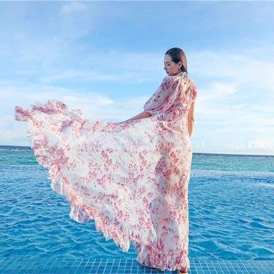 波希米亞 長 裙-飄逸雪紡防曬罩衫連衣裙73sg46[獨家進口][米蘭精品]