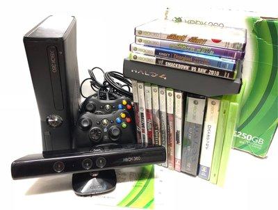 微軟 Microsoft Xbox360 Slim 250GB主機、遊戲*16、原廠手把*2(無線*1 有線*1)、Kinect 體感鏡頭*1 體感遊戲
