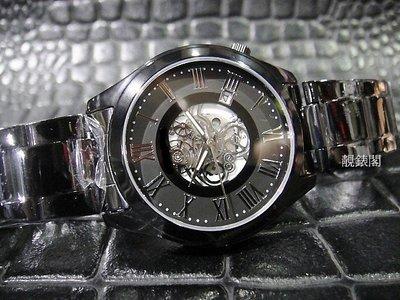 【靚錶閣】黑鋼羅馬時標中飾齒輪精品錶‧...