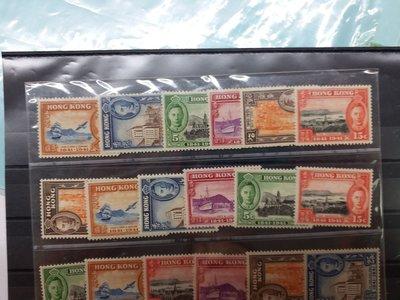 1941 香港開埠100周年共3套新票有貼共18枚(5元平郵)
