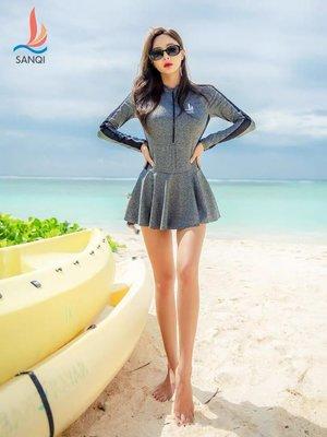 DR韓國泳裝~三奇泳衣女士分體裙式運動長袖二件套韓國大碼胖mm性感溫泉游泳裝