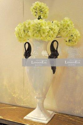 【 LondonEYE 】黑天鵝‧奢華亮白色夢幻婚禮裝飾花器/花瓶‧方型複層座 樣品屋/豪宅(桌型)