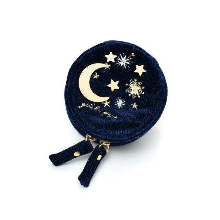飾品盒甜美可愛星星與優雅月亮絨布刺繡圓形迷你首飾收納包便攜小首飾盒