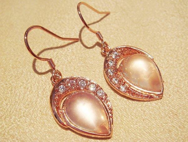 全新從未戴過全美星光粉水晶穿式耳環玫瑰金,低價起標無底價!本商品免運費!