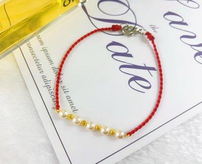 9999純黃金小亮珠珍珠+紅色蠟線時尚手鍊