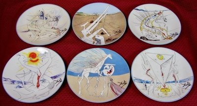 【蘇菲的藝想世界】 達利: 6 Limoges porcelain plates(4000版) 瓷盤