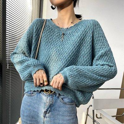 穿出格調氣質復古針織衫 小波浪收邊麟片織法寬鬆長袖毛衣 艾爾莎【TAE8552】