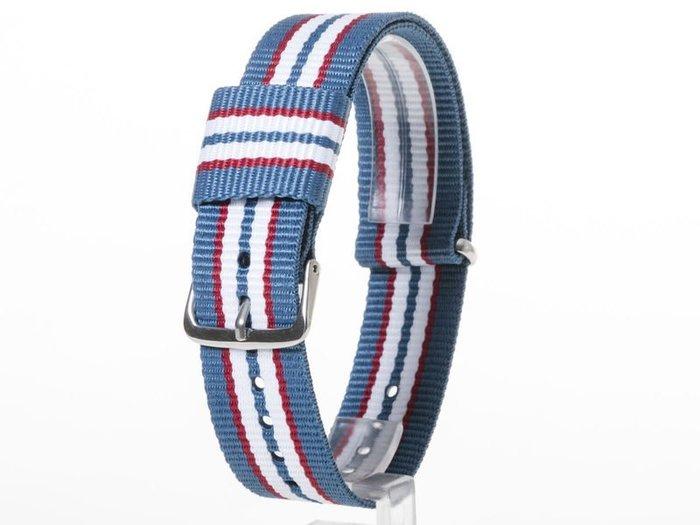 DW款式 編織加厚尼龍錶帶 尼龍手錶帶 – 20mm銀色 – 七色藍 FA-38802