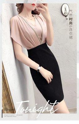 夏季新款女裝時尚氣質包臀裙子中長款顯瘦雪紡短袖V領連衣裙