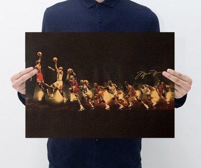 【貼貼屋】NBA Jordan上籃 喬丹 超帥經典款  籃球 懷舊復古 牛皮紙 海報 壁貼 346