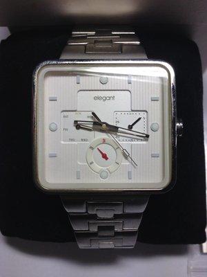 三眼錶 elegant 6P29-500 三眼大方型錶 時尚錶